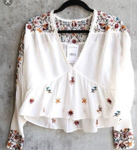 Free People Ava Woven Floral Embroidered Blouse